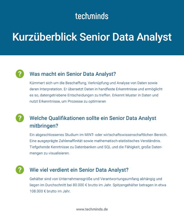 Senior Data Analyst Kurzüberblick
