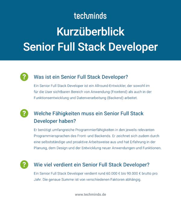 Kurzüberblick Senior Full Stack Developer