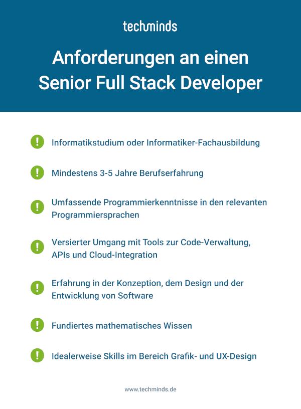 Senior Full Stack Developer Anforderungen